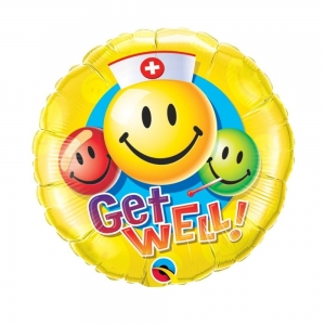 Balon foliowy emotikonka Get Well! 45cm