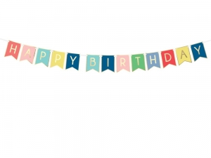 Baner happy birthday kolorowy 175cm
