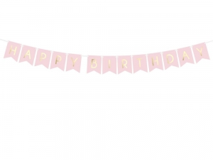 Baner happy birthday różowy 175cm
