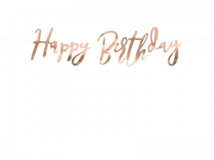 Baner Happy Birthday złoty róż 62cm
