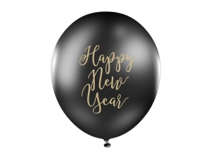 Balony Happy New Year! czarne 30cm 6szt.
